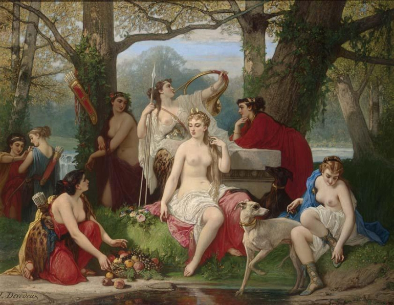 Louis_Devedeux_-_Diana_goddess_of_the_hunt_surrounded_by_her_servants_in_a_luminous_forest_setting
